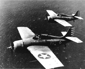 F4F-3A Wildcats flown by LCMDR. Thach (F-1) and Lt. O'Hare (F-13) during the aerial photography flight of April 11, 1942.