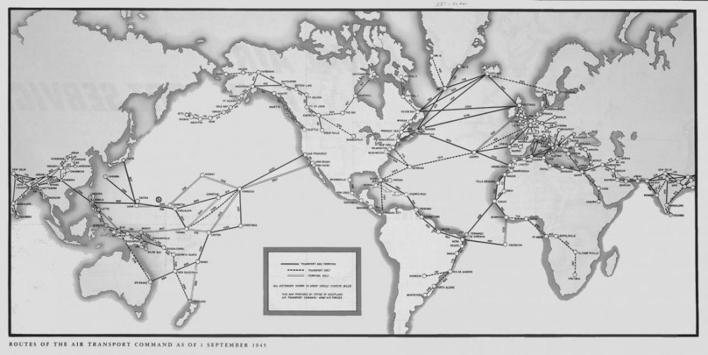 Map of worldwide routes of Air Transport Command, September 1945