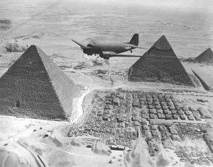 Air Transport Command C-47 over the Giza pyramids in Egypt